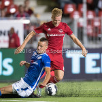 16-09-2016: Voetbal: Almere City FC v FC Den Bosch: Almere (L-R) Ben Santermans (FC Den Bosch), Jeffrey Rijsdijk (Almere City FC) Jupiler League 2016 / 2017
