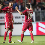 16-09-2016: Voetbal: Almere City FC v FC Den Bosch: Almere (L-R) Sherjill MacDonald (Almere City FC), Yener Arica (Almere City FC) Jupiler League 2016 / 2017