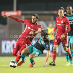 14-10-2016: Voetbal: Almere City FC v Jong PSV: Almere (L-R) Soufyan Ahannach (Almere City FC), Bram van Vlerken (Jong PSV) Jupiler League 2016 / 2017