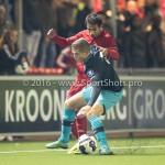 14-10-2016: Voetbal: Almere City FC v Jong PSV: Almere (L-R) Damian van Bruggen (Jong PSV), Yener Arica (Almere City FC) Jupiler League 2016 / 2017