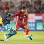 14-10-2016: Voetbal: Almere City FC v Jong PSV: Almere (L-R) Kenneth Paal (Jong PSV), Yener Arica (Almere City FC) Jupiler League 2016 / 2017