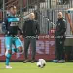 14-10-2016: Voetbal: Almere City FC v Jong PSV: Almere (L-R) Jack de Gier - Technisch manager/Hoofdtrainer (Almere City FC), Marco Heering - Assistent trainer (Almere City FC) Jupiler League 2016 / 2017