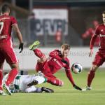 05-01-2017: Voetbal:Almere City FC v FC Groningen: Almere (L-R) Juninho Bacuna (FC Groningen), Jeffrey Rijsdijk (Almere City FC) Oefenwedstrijd 2016 /2017