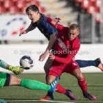 14-01-2017: Voetbal: Jong Almere City v Harkemase Boys: Almere (L-R) Erick Jansema (Harkemase Boys), Silvester van de Water (Almere City FC) 3de divisie zaterdag 2016 /2017