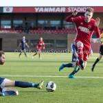 14-01-2017: Voetbal: Jong Almere City v Harkemase Boys: Almere (L-R) Bart de Groot (Harkemase Boys), Jasper Waalkens (Almere City FC) 3de divisie zaterdag 2016 /2017