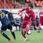 14-01-2017: Voetbal: Jong Almere City v Harkemase Boys: Almere (L-R) Jens Juan Streutker (Harkemase Boys), Khalid Tadmine (Almere City FC) 3de divisie zaterdag 2016 /2017