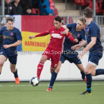 14-01-2017: Voetbal: Jong Almere City v Harkemase Boys: Almere (L-R) Khalid Tadmine (Almere City FC), Jens Juan Streutker (Harkemase Boys) 3de divisie zaterdag 2016 /2017