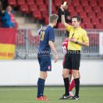 14-01-2017: Voetbal: Jong Almere City v Harkemase Boys: Almere (L-R) Jens Juan Streutker (Harkemase Boys),  M.P. Gerritsen (Scheidsrechter) 3de divisie zaterdag 2016 /2017