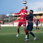 14-01-2017: Voetbal: Jong Almere City v Harkemase Boys: Almere (L-R) Tom Noordhoff (Jong Almere City FC), Arton Musliu (Harkemase Boys) 3de divisie zaterdag 2016 /2017