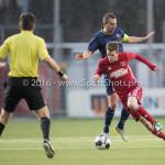 14-01-2017: Voetbal: Jong Almere City v Harkemase Boys: Almere (L-R) Oebele Schokker (Harkemase Boys), Jasper Waalkens (Almere City FC) 3de divisie zaterdag 2016 /2017