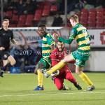 27-01-2017: Voetbal: Almere City FC v Fortuna Sittard: Almere (L-R) Christopher Braun (Fortuna Sittard), Soufyan Ahannach (Almere City FC), Perr Schuurs (Fortuna Sittard) Jupiler League 2016 / 2017