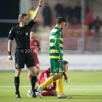 27-01-2017: Voetbal: Almere City FC v Fortuna Sittard: Almere (L-R) Sander van der Eijk  (Scheidsrechter), Kamen Hadzhiev (Fortuna Sittard) Jupiler League 2016 / 2017