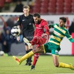 27-01-2017: Voetbal: Almere City FC v Fortuna Sittard: Almere (L-R) Soufyan Ahannach (Almere City FC), Dries Saddiki (Fortuna Sittard) Jupiler League 2016 / 2017