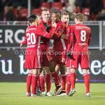 27-01-2017: Voetbal: Almere City FC v Fortuna Sittard: Almere (L-R) Gaston Salasiwa (Almere City FC), Lars Nieuwpoort (Almere City FC), Arsenio Valpoort (Almere City FC), Jeffrey Rijsdijk (Almere City FC) Jupiler League 2016 / 2017
