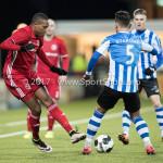 03-02-2017: Voetbal: FC Eindhoven v Almere City FC: Eindhoven (L-R) Arsenio Valpoort (Almere City FC), Maxime Gunst (FC Eindhoven) Jupiler League 2016 / 2017