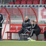 04-02-2017: Voetbal:Almere City FC O17 v PEC Zwolle O17: Almere (L-R) Arturo ten Heuvel - Trainer (Almere City FC O17), Bram Leuering (Almere City FC O17), Manouk Wolters (Almere City FC O17) Seizoen 2016 / 2017