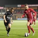 06-02-2017: Voetbal: Almere City FC v FC Emmen: Almere (L-R) Frank Olijve(FC Emmen), Lars Nieuwpoort (Almere City FC) Jupiler League 2016 / 2017