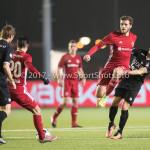 06-02-2017: Voetbal: Almere City FC v FC Emmen: Almere (L-R) Gaston Salasiwa (Almere City FC), Javier Vet (Almere City FC), Gersom Klok (FC Emmen) Jupiler League 2016 / 2017