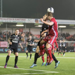 06-02-2017: Voetbal: Almere City FC v FC Emmen: Almere (L-R) Frank Olijve(FC Emmen), Damon Mirani (Almere City FC) Seizoen 2016 / 2017