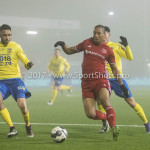 Voetbal: Almere City v SC Cambuur: Almere (L-R) Marvin Peersman (SC Cambuur), Sherjill Mac-Donalds (Almere City FC), Omar El Baad (SC Cambuur) Jupiler League 2016 / 2017