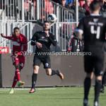 18-02-2017: Voetbal: Jong Almere City FC v IJsselmeervogels: Almere (L-R) Shaquille Sno (Almere City FC), Oktay Ozturk (Ijsselmeervogels) 3de divisie zaterdag 2016 /2017
