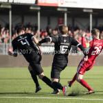 18-02-2017: Voetbal: Jong Almere City FC v IJsselmeervogels: Almere (L-R) Ralph Hovestad (Ijsselmeervogels), Marciano van Leijenhorts (Ijsselmeervogels), Jasper Waalkens (Almere City FC) 3de divisie zaterdag 2016 /2017