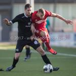 18-02-2017: Voetbal: Jong Almere City FC v IJsselmeervogels: Almere (L-R) Ralph Hovestad (Ijsselmeervogels), Silvester van de Water (Almere City FC) 3de divisie zaterdag 2016 /2017