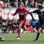 18-02-2017: Voetbal: Jong Almere City FC v IJsselmeervogels: Almere (L-R) Arsenio Valpoort (Almere City FC), Achraf Nejmi (Ijsselmeervogels) 3de divisie zaterdag 2016 /2017