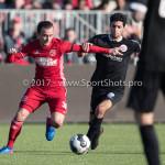 18-02-2017: Voetbal: Jong Almere City FC v IJsselmeervogels: Almere (L-R) Danny van Haaren (Jong Almere City FC), Achraf Nejmi (Ijsselmeervogels) 3de divisie zaterdag 2016 /2017