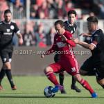 18-02-2017: Voetbal: Jong Almere City FC v IJsselmeervogels: Almere (L-R) Danny van Haaren (Jong Almere City FC), Chris van Hussen (Ijsselmeervogels) 3de divisie zaterdag 2016 /2017
