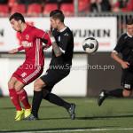 18-02-2017: Voetbal: Jong Almere City FC v IJsselmeervogels: Almere (L-R) Dyllan Lanser (Almere City FC), Ralph Hovestad (Ijsselmeervogels) 3de divisie zaterdag 2016 /2017