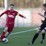 18-02-2017: Voetbal: Jong Almere City FC v IJsselmeervogels: Almere (L-R) Jasper Waalkens (Almere City FC), Dennis Hollart (Ijsselmeervogels) 3de divisie zaterdag 2016 /2017