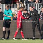 18-02-2017: Voetbal: Jong Almere City FC v IJsselmeervogels: Almere (L-R) Arsenio Valpoort (Almere City FC), Rene Koster - Hoofd opleiding / Trainer Jong (Jong Almere City FC) 3de divisie zaterdag 2016 /2017