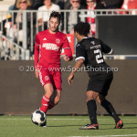 18-02-2017: Voetbal: Jong Almere City FC v IJsselmeervogels: Almere (L-R) Khalid Tadmine (Almere City FC), Shanon Carmelia (Ijsselmeervogels) 3de divisie zaterdag 2016 /2017