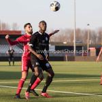 18-02-2017: Voetbal: Jong Almere City FC v IJsselmeervogels: Almere (L-R) Abdel Metalsi (Almere City FC), Sherwin Grot (Ijsselmeervogels) 3de divisie zaterdag 2016 /2017