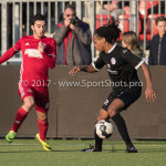 18-02-2017: Voetbal: Jong Almere City FC v IJsselmeervogels: Almere (L-R) Dyllan Lanser (Almere City FC), Shanon Carmelia (Ijsselmeervogels) 3de divisie zaterdag 2016 /2017