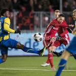 24-02-2017: Voetbal: Almere City FC v FC Oss: Almere (L-R) Lorenzo Piqué (FC Oss), Gaston Salasiwa (Almere City FC) Jupiler League 2016 / 2017