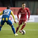 24-02-2017: Voetbal: Almere City FC v FC Oss: Almere (L-R) Justin Mathieu (FC Oss), Gaston Salasiwa (Almere City FC) Jupiler League 2016 / 2017