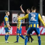 Voetbal: Almere City FC v FC Oss: Almere (L-R) Rick Stuy van den Herik (FC Oss), Christiaan Bax  (Scheidsrechter) Jupiler League 2016 / 2017
