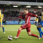 24-02-2017: Voetbal: Almere City FC v FC Oss: Almere (L-R) Dylan de Braal (FC Oss), Jeffrey Rijsdijk (Almere City FC), Dominique Kivuvu (FC Oss) Jupiler League 2016 / 2017