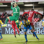 24-02-2017: Voetbal: Almere City FC v FC Oss: Almere (L-R) Jordy Deckers (FC Oss), Lorenzo Piqué (FC Oss), Arsenio Valpoort (Almere City FC) Jupiler League 2016 / 2017