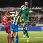 24-02-2017: Voetbal: Almere City FC v FC Oss: Almere (L-R) Sherjill Mac-Donalds (Almere City FC), Rick Stuy van den Herik (FC Oss), Jordy Deckers (FC Oss) Jupiler League 2016 / 2017