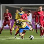 13-03-2017: Voetbal: Almere City FC v FC Dordrecht: Almere (L-R) Michael Chacon (FC Dordrecht), Tom Overtoom (Almere City FC) Jupiler League 2016 / 2017