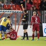 13-03-2017: Voetbal: Almere City FC v FC Dordrecht: Almere (L-R) Jordy Vleugels (FC Dordrecht), Jeffrey Rijsdijk (Almere City FC), Erwin Blank (Scheidsrechter) Jupiler League 2016 / 2017