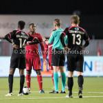 31-03-2017: Voetbal: Almere City FC v Telstar: Almere (L-R) Calvin Mac Intosch (Almere City FC), Freek van Herk (Scheidsrechter) Jupiler League 2016 / 2017