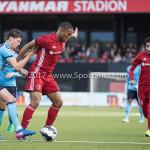 14-04-2017: Voetbal: Almere City FC v Jong FC Utrecht: Almere (L-R) Maarten Peijnenburg (Jong FC Utrecht), Sherjill Mac-Donalds (Almere City FC) Jupiler League 2016 / 2017
