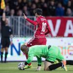 14-04-2017: Voetbal: Almere City FC v Jong FC Utrecht: Almere (L-R) Joost Meendering (Jong FC Utrecht), Yener Arica (Almere City FC) Jupiler League 2016 / 2017