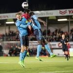 14-04-2017: Voetbal: Almere City FC v Jong FC Utrecht: Almere (L-R) Jelle de Lange (Jong FC Utrecht), Yener Arica (Almere City FC), Myenty Abena (Jong FC Utrecht) Jupiler League 2016 / 2017