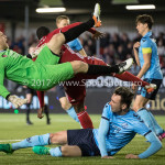14-04-2017: Voetbal: Almere City FC v Jong FC Utrecht: Almere (L-R) Joost Meendering (Jong FC Utrecht), Calvin Mac Intosch (Almere City FC),  Rick van der Meer (Jong FC Utrecht) Jupiler League 2016 / 2017