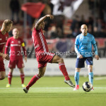 14-04-2017: Voetbal: Almere City FC v Jong FC Utrecht: Almere (L-R) Sherjill Mac-Donalds (Almere City FC), Darren Rosheuvel (Jong FC Utrecht) Jupiler League 2016 / 2017